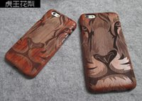 Wholesale Tiger Wood Carvings - New wood case for apple iphone 6 4.7 inch 6s plus 5.5 inch genuine wooden cover carving tiger design wood frame case