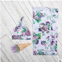 Wholesale Girls Patchwork Quilts - INS Newborn blanket Baby girls boys cotton floral sleep sack+printed swaddle hats 2pcs sets Infants muslin blanket C2027