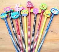 Wholesale Wooden Pencil Wholesale - Wholesale- 10PCS cartoon animals series wooden pencil with eraser children pencils For Kid School Office Supply Escolar Papelaria