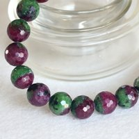 Wholesale Ruby Zoisite - Free Shipping Natural Genuine Half Red and Green Ruby Zoisite Finished Stretch Bracelet Faceted Round Loose beads Jewelry DIY 04352