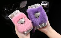 Luxus Fox Kopf Kaninchenfell Haar Bling Diamant Leder Flip Wallet Case Cover für iPhone 5 6 6 S Plus Samsung Galaxy S5 S6 S7 Rand