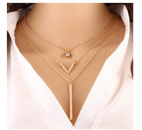 Wholesale Multi Layered Gold Necklace - European Fashion Hot Sale Alloy Chinas Necklace Women Lovely Necklaces Lady Multi-layered Necklace Pearl Sequins Design Gold Sliver Color