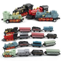 Wholesale train sets for kids - Old Fashioned Steam Locomotive Light A-grade Alloy Material Model Arbitrary Assembly Simulation Train For Kid Free Shipping
