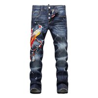 Wholesale Men Italian Pants - Italian Luxury Famous Brand Jeans For Men High Quality Fashion Designer Printed Jeans Embroidery Print Skinny Jeans Men D1453