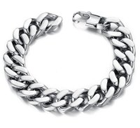 Wholesale 14mm Stainless Steel Curb Chain - 10 12 14mm Curb Cuban Stainless Steel Bracelet Mens Chain Clasp Link Bracelets Silver Tone Jewelry Gift Promotion 10PCS LOT Mixe
