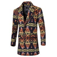 Wholesale Fall The new men s fashion printing fine woolen cloth leisure trench coats Male dust coat Asian size S M L XL XXL XL