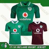 Wholesale Irish Rugby Shirt - 2018 Ireland rugby jersey Free shipping 2017 Irish Home Rugby Jersey Men Short Sleeve Original Jerseys Rugby Shirt 16 17 18 Ireland Uniforms