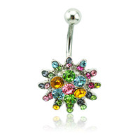 Vente en gros Classic Belly Button Rings Acier chirurgical Barbell Couleur Rhinestone Flower Navel Anings Body Piercing Jewelry