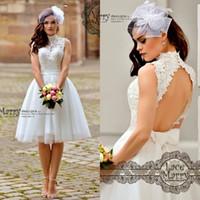 Wholesale Plus Size Wedding Reception Dresses - 1950's Tea Length Vintage Wedding Dresses High Neck Cap Sleeves Bridal Gowns Custom Made Short Reception Dress Plus Size 2017