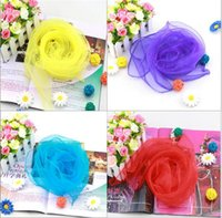 Wholesale Chiffon Silk Scarf Solid Color - 200pcs New 70*70cm Small Square Scarves Pure Silk Chiffon Solid Color Dance Show New Candy-colored Windproof Women Scarves 20 Colors A006