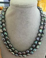 SUPERBE 11-12mm BAROQUE PEACOCK GREEN PEARL COLLIER 38INCH fermoir or 14k
