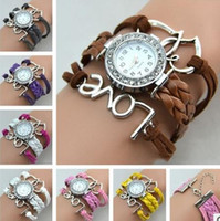 Wholesale Wholesale Double Wrap Watches - Infinity Bracelet Weave Bracelet Watches Lady Wrap Watches Love Cross Dream Double Heart Leather Wrist Watch Mix Style
