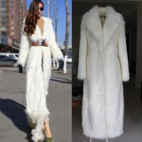 Wholesale Womens White Wool Trench Coat - Womens new full length fuax fur coat winter parka lapel sexy long trench furry overcoats Thicken Warm Super Long 4Colors zxy1999