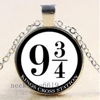 Wholesale Harry Potter Birthday - 10pcs Harry potter platform 9-3 4 Chain Necklace,Christmas Birthday Gift,Cabochon Glass Necklace Silver Bronze Black Fashion Jewelry Pendant