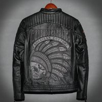 Wholesale club jacket leather sleeves resale online – urban baron Mens genuine leather jacket back with Skull embroidery AC MOTOR CLUB locomotive coats