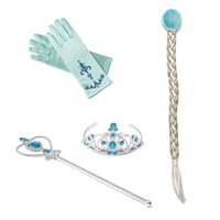 Wholesale Wholesale Costume Accessories - Frozen Elsa Headwear 4pcs set Crown Wig Wand Gloves Party Dress Up costume for kids Princess Elsa Anna Party Accessory New Arrival