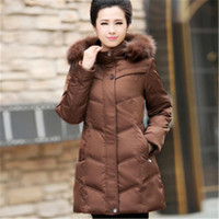 Wholesale Ladies Down Coat Medium - Wholesale-2016 New Down Middle-aged Ladies Big Yards Thick Down Jacket Medium-long Women Mother Solid Winter Outerside Coat WY197