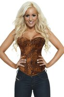 Wholesale Leopard Corset Skirt - 2016 Sexy Floral skirt Strapless Corset Sexy Bustiers Brown Floral Print Lady Body Shaper Corsets Gothic Shapewear S-5XL Sizes Mix sell