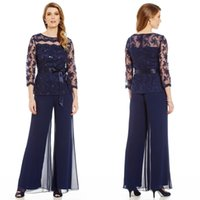 Wholesale Lace Two Piece Suits - 2016 Two Pieces Mother Of The Bride Pants Suit For Weddings Long Sleeve Lace Applique Beads Navy Blue Mothers Pantsuits For Groom Ourwear
