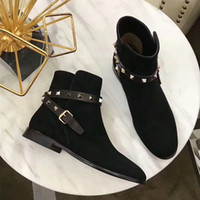 Letu291 Fashion Brand Chaussures Studs Rivets Buckle Punk Style en peau de mouton Suede Cuir véritable Bottes de cheville occidentales Femmes Chaussures Sz 35-39