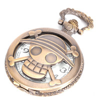 Wholesale Necklace Skull Pocket Watch - Fast Shipping One Piece Skull Pirate Quartz Pocket Watch Retro Men Women Necklace Chain Pendant Gift 230148