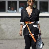 ceintures tissées hommes achat en gros de-2017 Nouveau FW Heron Ceinture De Preston Tête En Métal Tissé PULL Ceinture Orange Noir De Mode Hommes Femmes Highstreet HFYTPD001