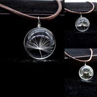 joyas de bolas de algodón al por mayor-Charms Dandelion Glass Cameo Ball Colgante de cuero encerado Collar de algodón Joyería de moda
