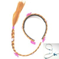 Wholesale Hair Band Braided Color - Children Elsa Tangled Cosplay Wig Baby Kids Cosplay Hair Accessories Rapunzel Cinderella Princess Braid Hair Stick Hair Band Wig HH-B24