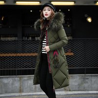 Wholesale Warm Grey Hooded Jacket - Women Down Coats 2017 Fashion Winter Female High Quality Long Warm Coat Female Thicken Solid Parka Hooded Jacket Plus Size