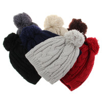 Wholesale Hair Color Yarn - Pure Color Warm Beanies Hats for men and Women 8-character twist big hair ball cap knitted hat men's hat for Winter Spring male wool hat