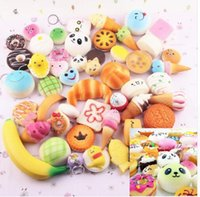 Wholesale Mini Kids Mobile Phone - 30pcs 1 lot Cute Jumbo kawaii Squishy Slow Rising Pendant Soft Mini Bread Cake ice Cream Squishies Mobile Phone Straps Kids Gift KKA2470