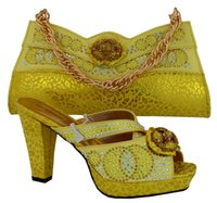 Wholesale Yellow Shoes Matching Bag - MM1007 New Arrival YELLOW Color Matching Women Shoes and Bag Set Decorated with Appliques Italian Women Shoes with Matching Bag Sets