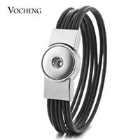 ingrosso bottoni a scatto-10pcs / Lot Vocheng Ginger Snap incanta il cuoio del braccialetto multi Caffè nero del catenaccio del magnete braccialetto per i monili del tasto 18 millimetri Nn -588 * 10