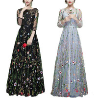 Wholesale Sexy Plus Size Club Wear - Fashion Illusion Sheer Black Evening Dresses Ball Embroidery 2018 Long Floral Party Prom Dresses Pageant Gowns Flower Spring Robe De Soiree
