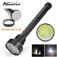 Wholesale High Powered Led Floodlight - Alonefire HF24 CREE XM-T6 24xT6 LED 38000 lumens High power 5Mode Glare 24T6 LED lashlight Torch Working lamp floodlight accent light