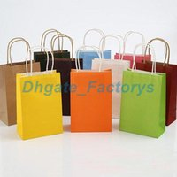Wholesale blank printing paper - 9 Color Kraft Paper Bag Festival Gift Package New Blank Gift Paper Bag Fashionable Gift Paper Bag