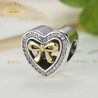 Wholesale Bracelet Binding - Wholesale 14K Gold Plated Bound By Love Bow Heart Charms Beads S925 Sterling Silver Clear CZ Bowknot Beads For Women Bracelets DIY Jewelry