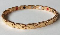 Wholesale Health Benifits - 316l Stainless steel men's gold silver balance health magnet bracelet with magnetic germanium energy bracelets benifits jewelry