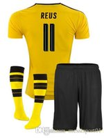 Wholesale Shorts Top Sets - TOP QUALITY Full Sets New 2017 2018 Borussia Dortmund REUS Soccer Jersey Kits 17 18 Home Yellow PULISIC Adult football Shirts with Socks