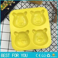 Wholesale Silicone Chocolate Sheet - New hot Silicone Molds Winnie the Pooh Fondant Cake Decorations Bear Mold Cake Tools Handmade Craft Rubber Chocolate Mold 4 Holes per Sheet