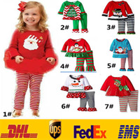 ingrosso vestiti natalizi della neonata-Baby Christmas Sets Outfits Nuovi bambini Neonati Ragazzi delle ragazze XMAS Tree Snowman Deer Tute Tutu Top T-shirt + Pantaloni a righe Abbigliamento HH-S02