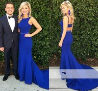 Wholesale Discount Dresses Back Zippers - Sexy Mermaid Evening Dresses Royalblue Scoop Neck Open Back Long Prom Dresses Discount Sheath Formal Evening Gowns For Red Carpet 2017
