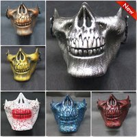 Wholesale Warrior Skull Mask - 18*14*13Cm Three Generations Chiefs Skull Half Face Mask CS Field Equipment Protective Mask Skeleton Warriors Halloween Party Decoration