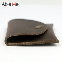 Wholesale Handmade Leather Coin Purse - Wholesale- Hot Sale Personality Design Men And Women Coin Purse For Card Holder Handmade Leather Mini Wallet Custom Change Pocket