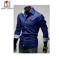Wholesale Male Shirt Fashion Models - Wholesale- 2017 New Fashion Brand Men Shirt Embroidery Dress Shirt Long Sleeve Slim Fit Camisa Masculina Casual Male Shirts Model White 3XL