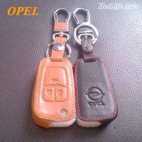 opel anahtar kasası toptan satış-Opel Astra h g j Corsa için hakiki Deri Anahtarlık Antara Meriva Zafira Insignia Mokka Vectra Uzaktan Araba Anahtarı Durumda Kapak