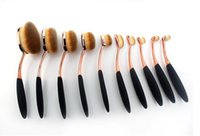 Wholesale Gold Toothbrush - Beauty Toothbrush brush rose gold Shaped Foundation Power Makeup Oval Cream Puff Brushes sets Oval Brushes DHL FREE shipping