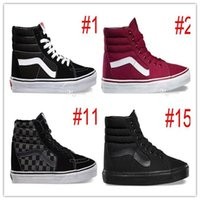 Wholesale Mens Hi Top Shoes - Original High Tops SK8-Hi Canvas Shoes Cheap Classic White Black Red For Women And Mens Skateboarding Sneakers Casual Shoes size 36-44