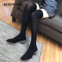 Hot Sale Over Knee Boot Women High Boots Stretch Tecido 2017 Koovan Primavera Outono Rhinestone Performance Shoe Chunky Heel W383