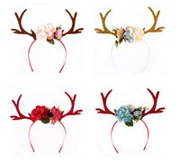 Wholesale handmade flower headband - Women Girls Flower Crown Hair Sticks Deer Antler Ears Flower Hairband Headband Christmas Party Costume Headbands Birthday headwear handmade